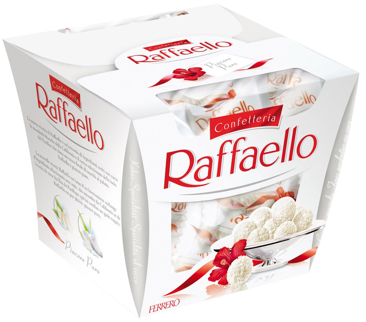 Raffaello конфеты с цельным миндальным орехом в кокосовой обсыпке, 150 г0120710Конфеты Рафаэлло с цельным миндальным орехом в кокосовой обсыпке.
