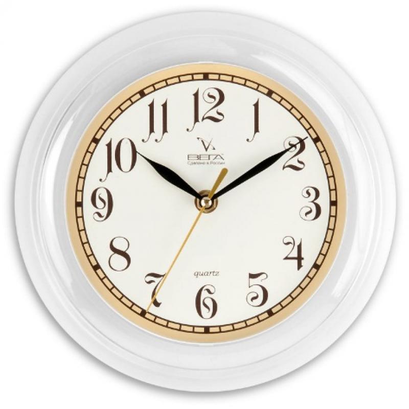 Часы настенные Вега Классика с бежевым кантом94672Оригинальные настенные часы круглой формы Вега Классика с бежевым кантом выполнены из пластика. Часы имеют три стрелки - часовую, минутную и секундную. Необычное дизайнерское решение и качество исполнения придутся по вкусу каждому. Оформите свой дом таким интерьерным аксессуаром или преподнесите его в качестве презента друзьям, и они оценят ваш оригинальный вкус и неординарность подарка.Часы работают от 1 батарейки типа АА напряжением 1,5 В (в комплект не входит).