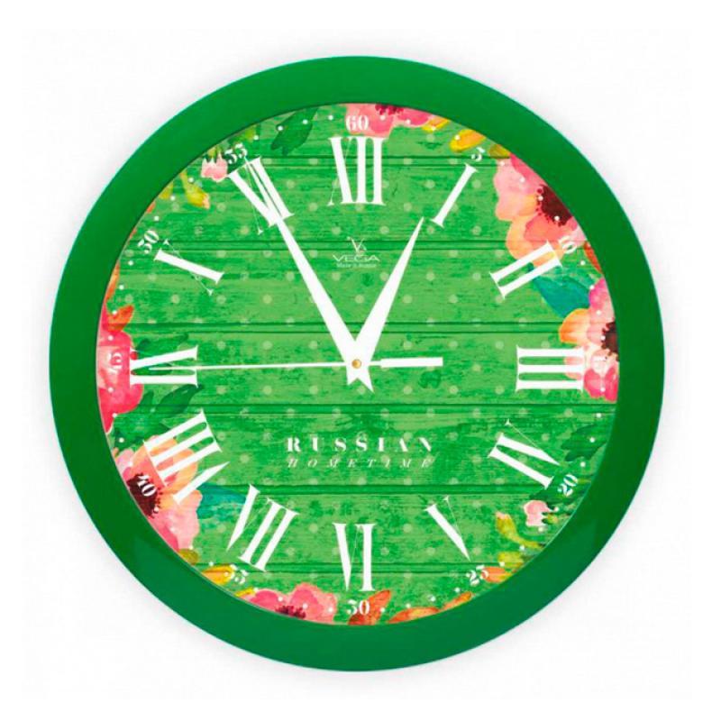 Часы настенные Вега Яркие краски, цвет: зеленыйП1-3/7-285