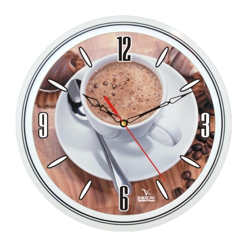 Часы настенные Вега Кофе4394672Оригинальные настенные часы круглой формы Вега Кофе43 выполнены из пластика. Часы имеют три стрелки - часовую, минутную и секундную. Необычное дизайнерское решение и качество исполнения придутся по вкусу каждому. Оформите свой дом таким интерьерным аксессуаром или преподнесите его в качестве презента друзьям, и они оценят ваш оригинальный вкус и неординарность подарка.Часы работают от 1 батарейки типа АА напряжением 1,5 В (в комплект не входит).