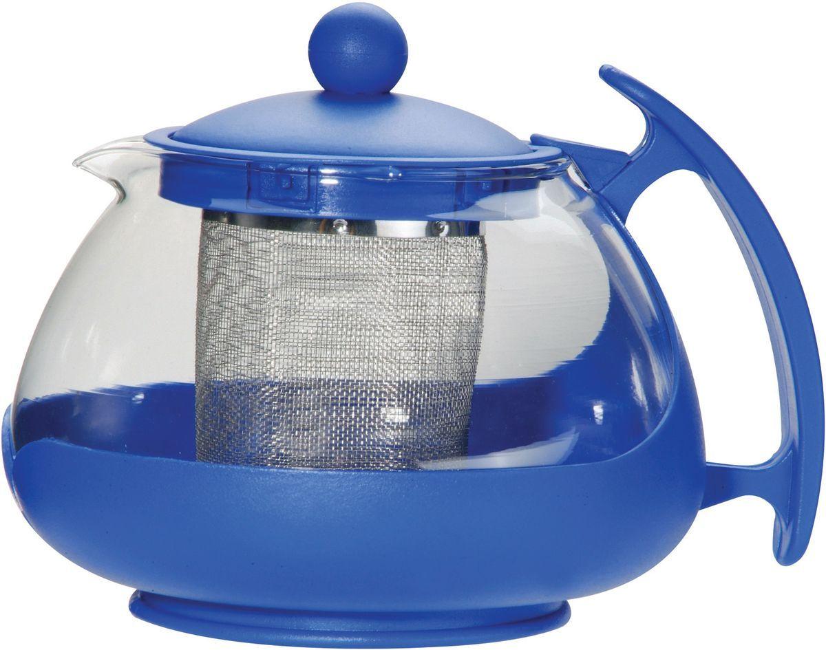 Чайник заварочный Bekker, с фильтром, цвет: прозрачный, синий, 750 мл. BK-307BK-307Заварочный чайник Bekker изготовлен из высококачественного стекла и пластика. Изделие оснащено сетчатым металлическим фильтром, который задерживает чаинки и предотвращает их попадание в чашку, а прозрачные стенки дадут возможность наблюдать за насыщением напитка. Чай в таком чайнике дольше остается горячим, а полезные и ароматические вещества полностью сохраняются в напитке.