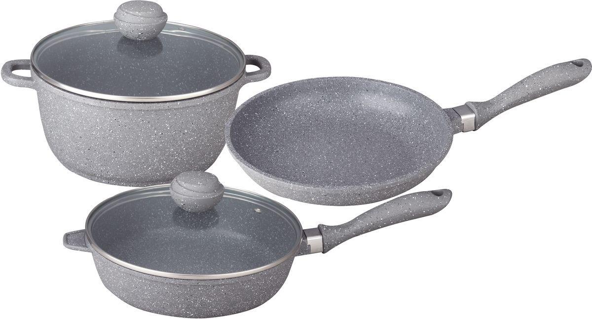 Набор посуды Bekker, 5 предметов. BK-4600BK-4600Набор посуды из 5 предметов. Кастрюля 6,0 л с крышкой d-28см х 12,5см, сотейник 2,3 л с крышкой d-24см х 6,5см, Сковорода 1,5 л d-24см х 4,5см. Толщина стенок -2,0мм, дна- 4,5мм. Внутри антипригарное серое мраморное покрытие, снаружи жаропрочное серое мраморное покрытие. Бакелитовые ручки в цвет посуды. Стеклянные крышки. Подходит для индукц.плит и чистки в посудомоечной машине. Состав: литой алюминий.