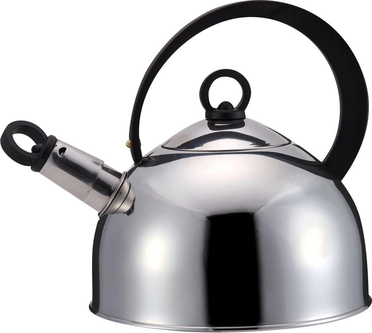 Чайник Bekker, 2,5 л. BK-S3151155102.5 L, нержав. сталь 18/10, дно капсулированное, метал. свисток, фиксир. пласт. ручка, метал. крышка. Соврем. дизайн.