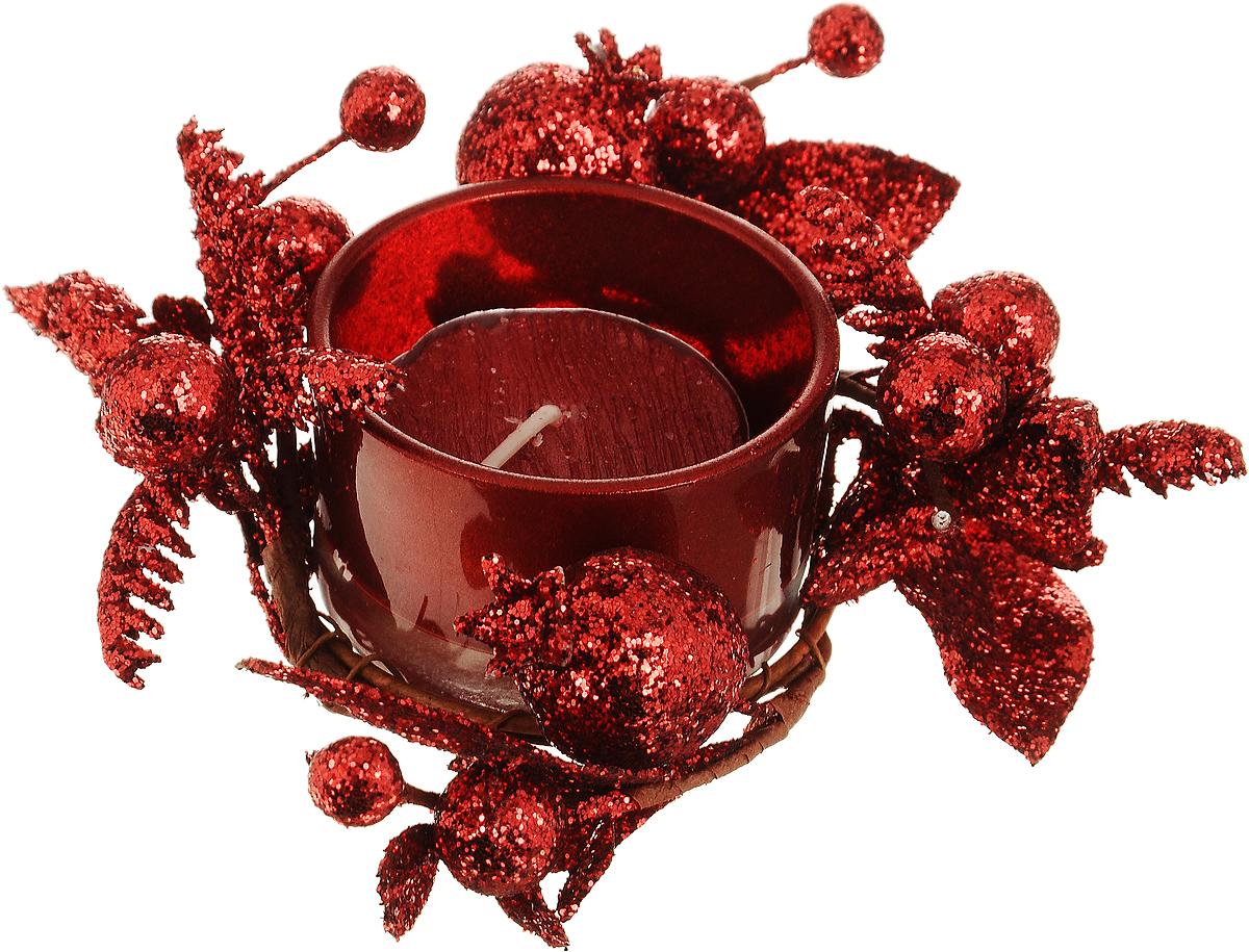 Подсвечник Lovemark Ягоды, со свечой5A2198 RПодсвечник Lovemark представляет собой стеклянную емкость для чайной свечи, оформленную изысканным декоративным элементом в виде веточки с листочками и ягодами. Композиция покрыта блестками, что придает изделию особый шарм и изысканность. Чайная свеча красного цвета входит в комплект. Такой подсвечник элегантно оформит интерьер вашего дома. Мерцание свечи создаст атмосферу романтики и уюта. Диаметр емкости (по верхнему краю): 5 см. Высота емкости: 3 см. Диаметр свечи: 3,5 см.