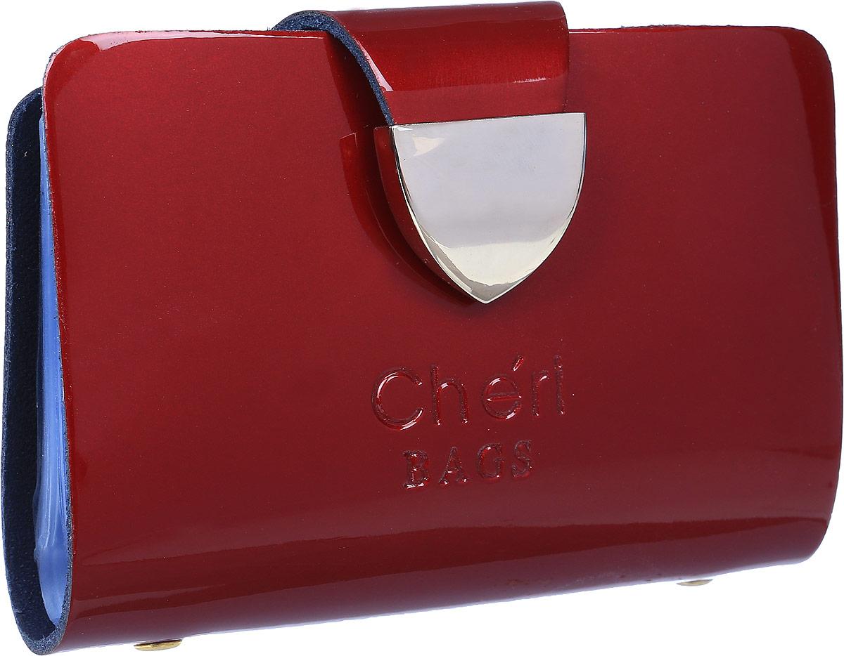 Визитница женская Cheribags, цвет: бордовый. V-0482-33V-0482-33Визитница Cheribags выполнена из натуральной лаковой кожи и оформлена тисненой надписью с названием бренда. Внутри расположен блок с 26 файлами для визитных и дисконтных карт. Изделие застегивается хлястиком на кнопку.