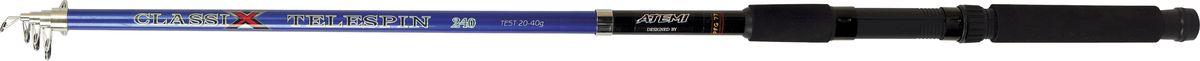 Удилище спиннинговое телескопическое Atemi Classix Telespin, с неопреновой ручкой, 1,8 м, 10-30 г06/5/07Спиннинговое удилище Atemi Classix Telespin предназначено для ловли в кустах или по заросшим берегам, благодаря своей длине, позволяет сделать точные забросы на необходимую дистанцию, а универсальный тест дает возможность использовать широкий спектр приманок. Изделие выполнено из высококачественного стеклопластика. Неопреновая ручка приятна на ощупь, не скользит в руках.