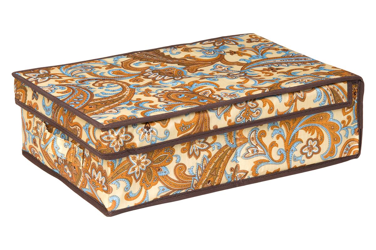 Кофр для хранения EL Casa Перо павлина, цвет: бежевый, 27 х 41 х 12 см370357Кофр для хранения EL Casa Перо павлина выполнен из полиэстера, который обеспечивает естественную вентиляцию, отлично пропускает воздух, но не пропускает пыль. Благодаря специальным вставкам из картона кофр прекрасно держит форму. Изделие декорировано красочным узором и имеет оригинальный дизайн. Сбоку расположена ручка. Кофр подходит для хранения вещей, аксессуаров, книг, бумаг, лекарств, CD/DVD дисков. Легко складывается и раскладывается. Он поможет хранить вещи компактно и удобно. Подходит для размещения в шкафу, комоде.
