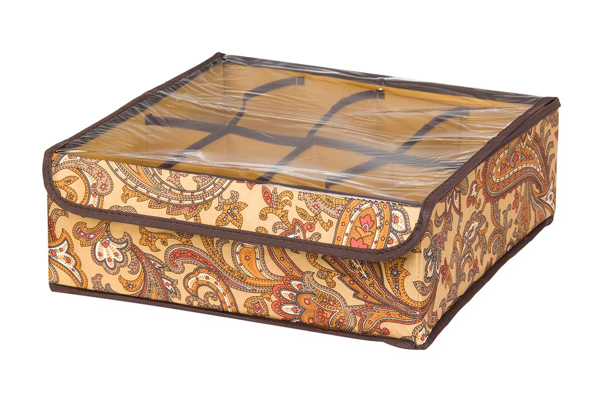 Кофр для хранения EL Casa Перо павлина, цвет: коричневый, 8 секций, 32 х 32 х 12 см370520Кофр для хранения EL Casa Перо павлина выполнен из полиэстера, который обеспечивает естественную вентиляцию, отлично пропускает воздух, но не пропускает пыль. Вставки из плотного картона хорошо держат форму. Изделие декорировано красочным узором и имеет оригинальный дизайн. Кофр с 8 секциями подходит для хранения нижнего белья, колготок, носков и другой одежды. Прозрачная крышка на липучке, выполненная из ПВХ, позволяет видеть содержимое кофра, не открывая его. Изделие поможет хранить вещи компактно и удобно. Подходит для размещения в шкафу, комоде.
