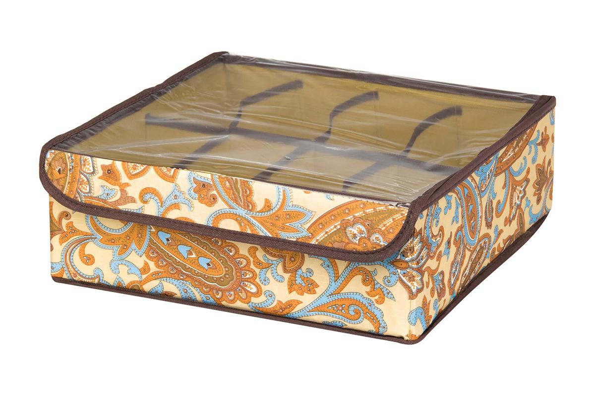 Кофр для хранения EL Casa Перо павлина, цвет: бежевый, 8 секций, 32 х 32 х 12 см370521Кофр для хранения EL Casa Перо павлина выполнен из полиэстера, который обеспечивает естественную вентиляцию, отлично пропускает воздух, но не пропускает пыль. Вставки из плотного картона хорошо держат форму. Изделие декорировано красочным узором и имеет оригинальный дизайн. Кофр с 8 секциями подходит для хранения нижнего белья, колготок, носков и другой одежды. Прозрачная крышка на липучке, выполненная из ПВХ, позволяет видеть содержимое кофра, не открывая его. Изделие поможет хранить вещи компактно и удобно. Подходит для размещения в шкафу, комоде.