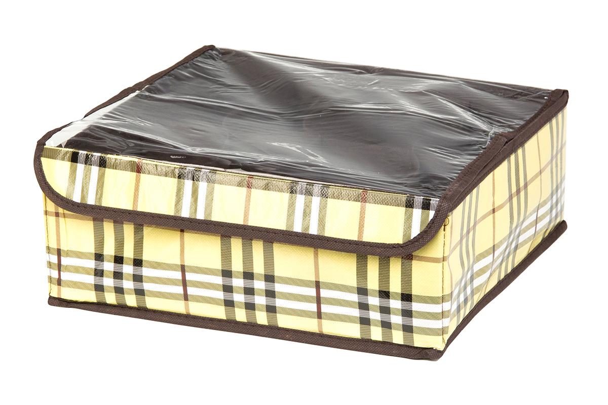 Кофр для хранения EL Casa Шотландка, 8 секций, 32 х 32 х 12 см370524Кофр для хранения EL Casa Шотландка выполнен из качественного полиэстера, который обеспечивает естественную вентиляцию, отлично пропускает воздух, но не пропускает пыль. Вставки из плотного картона хорошо держат форму. Изделие декорировано рисунком в клетку и имеет оригинальный дизайн. Кофр с 8 секциями подходит для хранения нижнего белья, колготок, носков и другой одежды. Прозрачная крышка на липучке, выполненная из ПВХ, позволяет видеть содержимое кофра, не открывая его. Изделие поможет хранить вещи компактно и удобно. Подходит для размещения в шкафу, комоде.