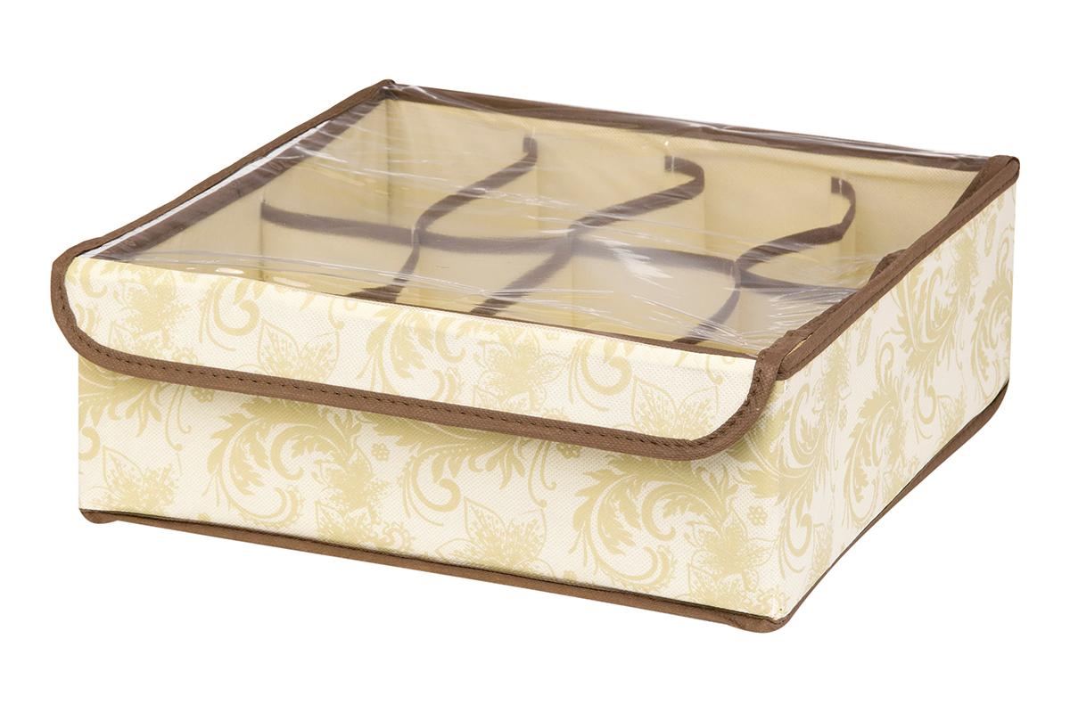 Кофр для хранения EL Casa Узор, 8 секций, 32 х 32 х 12 см370526Кофр для хранения EL Casa Узор выполнен из качественного нетканого материала, который обеспечивает естественную вентиляцию, отлично пропускает воздух, но не пропускает пыль. Вставки из плотного картона хорошо держат форму. Изделие декорировано изысканным цветочным узором и имеет оригинальный дизайн. Кофр с 8 секциями подходит для хранения нижнего белья, колготок, носков и другой одежды. Прозрачная крышка на липучке, выполненная из ПВХ, позволяет видеть содержимое кофра, не открывая его. Изделие поможет хранить вещи компактно и удобно. Подходит для размещения в шкафу, комоде.