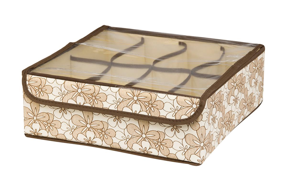 Кофр для хранения EL Casa Цветочное изобилие, 8 секций, 32 х 32 х 12 см370527Кофр для хранения EL Casa Цветочное изобилие выполнен из качественного нетканого материала, который обеспечивает естественную вентиляцию, отлично пропускает воздух, но не пропускает пыль. Вставки из плотного картона хорошо держат форму. Изделие декорировано красивым цветочным рисунком и имеет оригинальный дизайн. Кофр с 8 секциями подходит для хранения нижнего белья, колготок, носков и другой одежды. Прозрачная крышка на липучке, выполненная из ПВХ, позволяет видеть содержимое кофра, не открывая его. Изделие поможет хранить вещи компактно и удобно. Подходит для размещения в шкафу, комоде.