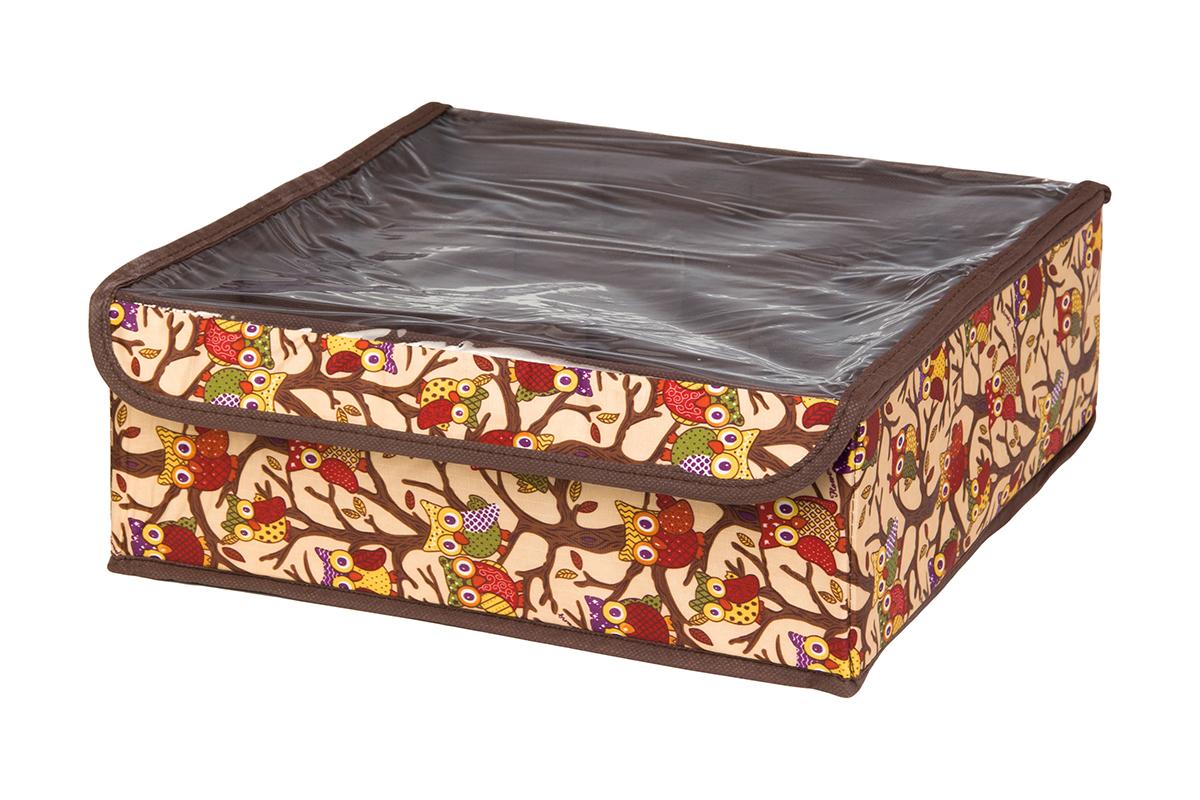 Кофр для хранения EL Casa Совы на ветках, цвет: бежевый, 12 секций, 32 х 32 х 12 смUP210DFКофр для хранения EL Casa Совы на ветках выполнен из полиэстера, который обеспечивает естественную вентиляцию, отлично пропускает воздух, но не пропускает пыль. Вставки из плотного картона хорошо держат форму. Кофр имеет оригинальный дизайн, он декорирован красочным изображением забавных сов. Кофр с 12 секциями подходит для хранения нижнего белья, колготок, носков и другой одежды. Прозрачная крышка на липучке, выполненная из ПВХ, позволяет видеть содержимое кофра, не открывая его. Такой органайзер поможет хранить вещи компактно и удобно. Подходит для размещения в шкафу, комоде.