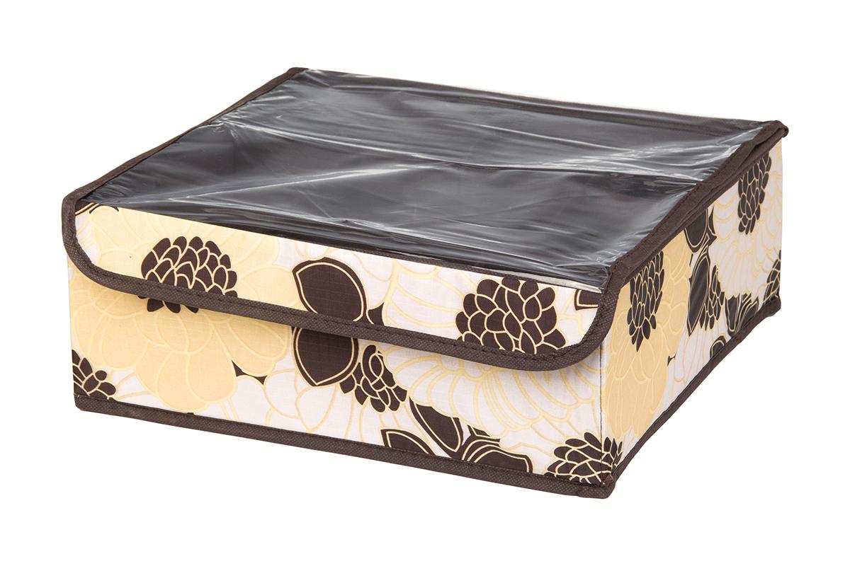Кофр для хранения EL Casa Цветочная фантазия, 12 секций, 32 х 32 х 12 смES-412Кофр для хранения EL Casa Цветочная фантазия выполнен из качественного полиэстера, который обеспечивает естественную вентиляцию, отлично пропускает воздух, но не пропускает пыль. Вставки из плотного картона хорошо держат форму. Изделие декорировано красивым цветочным рисунком и имеет оригинальный дизайн. Кофр с 12 секциями подходит для хранения нижнего белья, колготок, носков и другой одежды. Прозрачная крышка на липучке, выполненная из ПВХ, позволяет видеть содержимое кофра, не открывая его. Изделие поможет хранить вещи компактно и удобно. Подходит для размещения в шкафу, комоде.