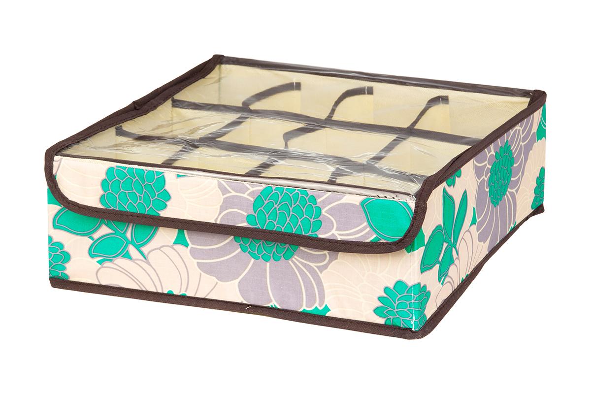 Кофр для хранения EL Casa Цветочное поле, 12 секций, 32 х 32 х 12 см370534Кофр для хранения EL Casa Цветочное поле выполнен из качественного полиэстера, который обеспечивает естественную вентиляцию, отлично пропускает воздух, но не пропускает пыль. Вставки из плотного картона хорошо держат форму. Изделие декорировано красивым цветочным рисунком и имеет оригинальный дизайн. Кофр с 12 секциями подходит для хранения нижнего белья, колготок, носков и другой одежды. Прозрачная крышка на липучке, выполненная из ПВХ, позволяет видеть содержимое кофра, не открывая его. Изделие поможет хранить вещи компактно и удобно. Подходит для размещения в шкафу, комоде.