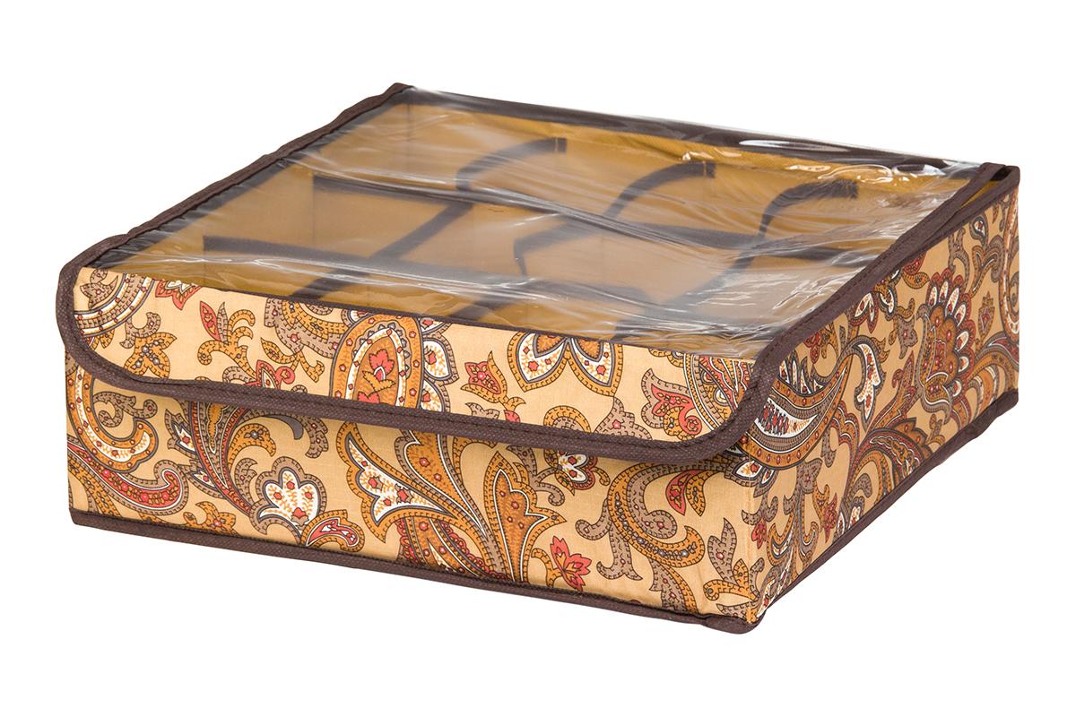 Кофр для хранения EL Casa Перо павлина, цвет: коричневый, 12 секций, 32 х 32 х 12 смUP210DFКофр для хранения EL Casa Перо павлина выполнен из полиэстера, который обеспечивает естественную вентиляцию, отлично пропускает воздух, но не пропускает пыль. Вставки из плотного картона хорошо держат форму. Изделие декорировано красочным узором и имеет оригинальный дизайн. Кофр с 12 секциями подходит для хранения нижнего белья, колготок, носков и другой одежды. Прозрачная крышка на липучке, выполненная из ПВХ, позволяет видеть содержимое кофра, не открывая его. Изделие поможет хранить вещи компактно и удобно. Подходит для размещения в шкафу, комоде.