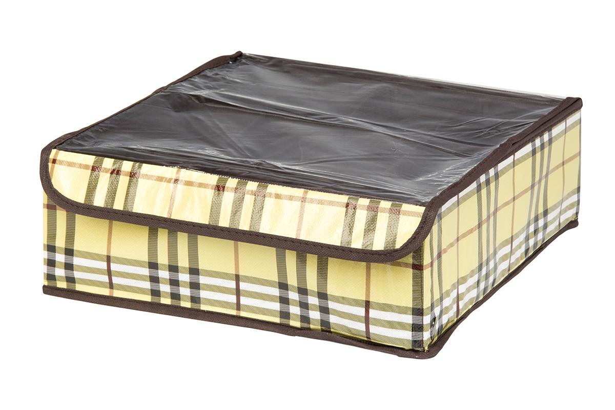 Кофр для хранения EL Casa Шотландка, 12 секций, 32 х 32 х 12 см370539Кофр для хранения EL Casa Шотландка выполнен из качественного полиэстера, который обеспечивает естественную вентиляцию, отлично пропускает воздух, но не пропускает пыль. Вставки из плотного картона хорошо держат форму. Изделие декорировано рисунком в клетку и имеет оригинальный дизайн. Кофр с 12 секциями подходит для хранения нижнего белья, колготок, носков и другой одежды. Прозрачная крышка на липучке, выполненная из ПВХ, позволяет видеть содержимое кофра, не открывая его. Изделие поможет хранить вещи компактно и удобно. Подходит для размещения в шкафу, комоде.