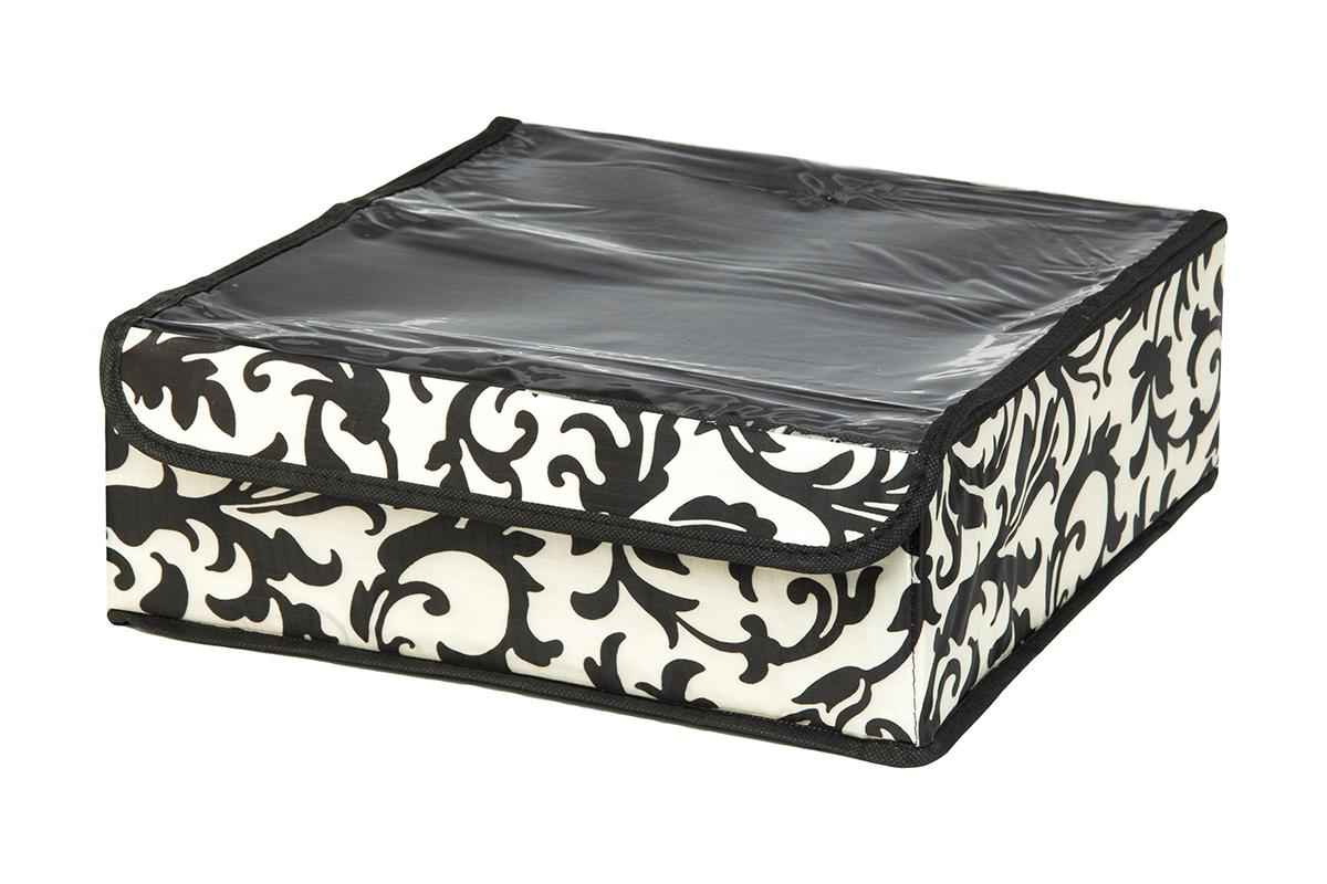 Кофр для хранения EL Casa Узор на серебре, 16 секций, 32 х 32 х 12 см370544Кофр для хранения EL Casa Узор на серебре выполнен из качественного полиэстера, который обеспечивает естественную вентиляцию, отлично пропускает воздух, но не пропускает пыль. Вставки из плотного картона хорошо держат форму. Изделие декорировано изысканным монохромным узором и имеет оригинальный дизайн. Кофр с 16 секциями подходит для хранения нижнего белья, колготок, носков и другой одежды. Прозрачная крышка на липучке, выполненная из ПВХ, позволяет видеть содержимое кофра, не открывая его. Изделие поможет хранить вещи компактно и удобно. Подходит для размещения в шкафу, комоде.