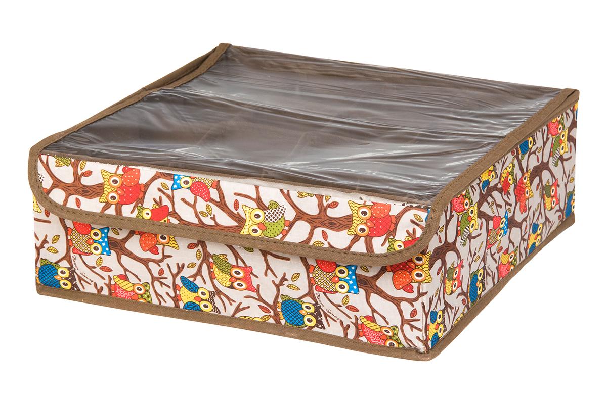 Кофр для хранения EL Casa Совы на ветках, цвет: серебристый, 16 секций, 32 х 32 х 12 см370545Кофр для хранения EL Casa Совы на ветках выполнен из полиэстера, который обеспечивает естественную вентиляцию, отлично пропускает воздух, но не пропускает пыль. Вставки из плотного картона хорошо держат форму. Кофр имеет оригинальный дизайн, он декорирован красочным изображением забавных сов. Кофр с 16 секциями подходит для хранения нижнего белья, колготок, носков и другой одежды. Прозрачная крышка на липучке, выполненная из ПВХ, позволяет видеть содержимое кофра, не открывая его. Такой органайзер поможет хранить вещи компактно и удобно. Подходит для размещения в шкафу, комоде.