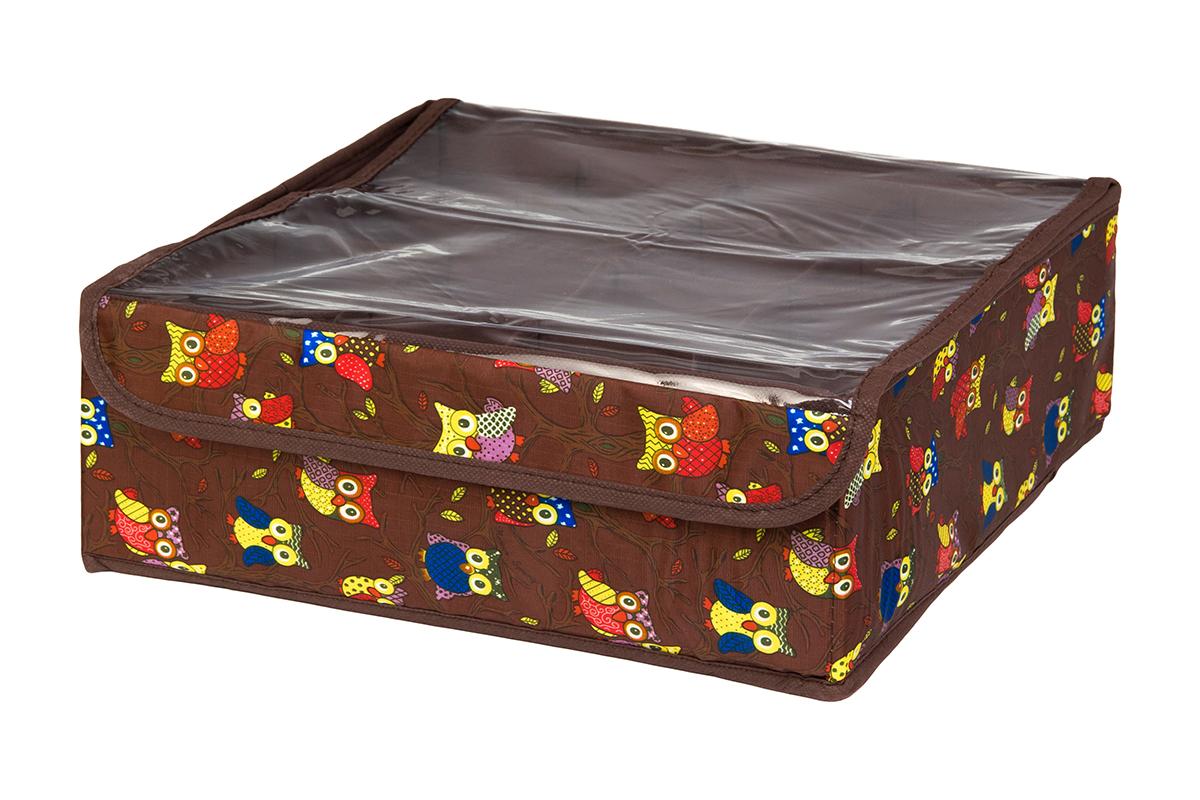 Кофр для хранения EL Casa Совы на ветках, цвет: коричневый, 16 секций, 32 х 32 х 12 см370546Кофр для хранения EL Casa Совы на ветках выполнен из полиэстера, который обеспечивает естественную вентиляцию, отлично пропускает воздух, но не пропускает пыль. Вставки из плотного картона хорошо держат форму. Кофр имеет оригинальный дизайн, он декорирован красочным изображением забавных сов. Кофр с 16 секциями подходит для хранения нижнего белья, колготок, носков и другой одежды. Прозрачная крышка на липучке, выполненная из ПВХ, позволяет видеть содержимое кофра, не открывая его. Такой органайзер поможет хранить вещи компактно и удобно. Подходит для размещения в шкафу, комоде.