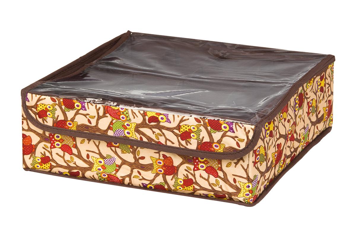 Кофр для хранения EL Casa Совы на ветках, цвет: бежевый, 16 секций, 32 х 32 х 12 см370547Кофр для хранения EL Casa Совы на ветках выполнен из полиэстера, который обеспечивает естественную вентиляцию, отлично пропускает воздух, но не пропускает пыль. Вставки из плотного картона хорошо держат форму. Кофр имеет оригинальный дизайн, он декорирован красочным изображением забавных сов. Кофр с 16 секциями подходит для хранения нижнего белья, колготок, носков и другой одежды. Прозрачная крышка на липучке, выполненная из ПВХ, позволяет видеть содержимое кофра, не открывая его. Такой органайзер поможет хранить вещи компактно и удобно. Подходит для размещения в шкафу, комоде.