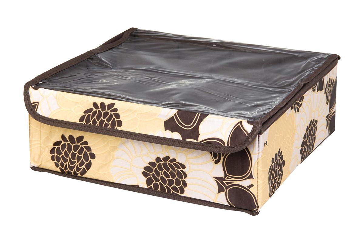 Кофр для хранения EL Casa Цветочная фантазия, 16 секций, 32 х 32 х 12 см370548Кофр для хранения EL Casa Цветочная фантазия выполнен из качественного полиэстера, который обеспечивает естественную вентиляцию, отлично пропускает воздух, но не пропускает пыль. Вставки из плотного картона хорошо держат форму. Изделие декорировано красивым цветочным рисунком и имеет оригинальный дизайн. Кофр с 16 секциями подходит для хранения нижнего белья, колготок, носков и другой одежды. Прозрачная крышка на липучке, выполненная из ПВХ, позволяет видеть содержимое кофра, не открывая его. Изделие поможет хранить вещи компактно и удобно. Подходит для размещения в шкафу, комоде.