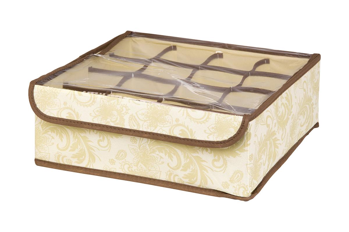 Кофр для хранения EL Casa Узор, 16 секций, 32 х 32 х 12 см370556Кофр для хранения EL Casa Узор выполнен из качественного нетканого материала, который обеспечивает естественную вентиляцию, отлично пропускает воздух, но не пропускает пыль. Вставки из плотного картона хорошо держат форму. Изделие декорировано изысканным цветочным узором и имеет оригинальный дизайн. Кофр с 16 секциями подходит для хранения нижнего белья, колготок, носков и другой одежды. Прозрачная крышка на липучке, выполненная из ПВХ, позволяет видеть содержимое кофра, не открывая его. Изделие поможет хранить вещи компактно и удобно. Подходит для размещения в шкафу, комоде.