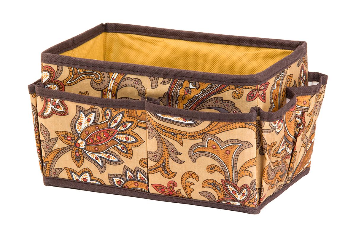 Органайзер для мелочей EL Casa Перо павлина, цвет: коричневый, 8 карманов, 20 х 12 х 12 см370580Органайзер для мелочей EL Casa Перо павлина выполнен из полиэстера, декорированного красивым орнаментом. Вставки из плотного картона хорошо держат форму. Удобный и компактный органайзер с 8 карманами с легкостью вместит все необходимые баночки и тюбики. Большое основное отделение можно использовать для кремов, парфюмерии и лаков. Наличие различных кармашков делает возможным хранение декоративной косметики и аксессуаров.