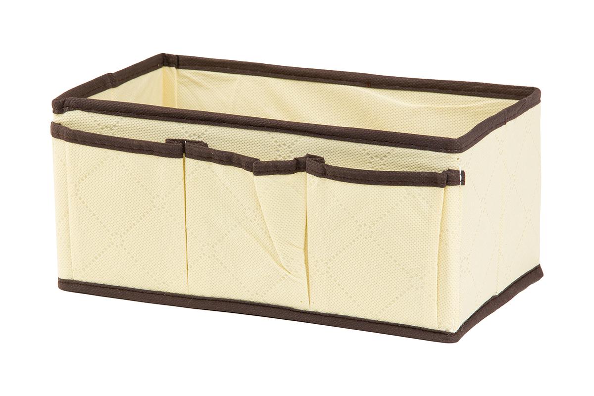Органайзер для мелочей EL Casa Геометрия стиля, 3 кармана, 25 х 15 х 12 смUP210DFОрганайзер для мелочей EL Casa Геометрия стиля выполнен из качественного нетканого волокна и декорирован красивым геометрическим узором. Благодаря специальным вставкам из картона, изделие прекрасно держит форму. Удобный и компактный органайзер с 3 карманами с легкостью вместит все необходимые баночки и тюбики. Большое основное отделение можно использовать для кремов, парфюмерии и лаков. Наличие кармашков делает возможным хранение декоративной косметики и аксессуаров.