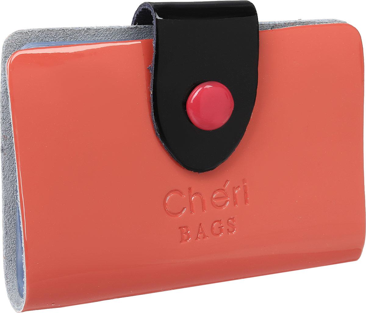 Визитница женская Cheribags, цвет: коралловый. V-0499-32INT-06501Визитница Cheribags выполнена из натуральной лаковой кожи и оформлена тисненой надписью с названием бренда. Изделие закрывается хлястиком на кнопку. Внутри расположено 26 файлов для визиток и карт.