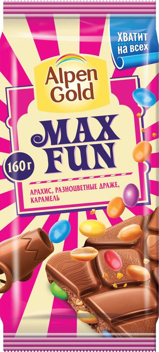 Alpen Gold Max Fun шоколад молочный с арахисом, разноцветными драже и карамелью, 160 г665915Плитка нежного шоколада с притягательным сливочным вкусом таит оригинальную начинку из разноцветного драже и ароматного арахиса. Большая упаковка позволит насладиться этим лакомством не только вам, но и вашим близким! Уважаемые клиенты! Обращаем ваше внимание, что полный перечень состава продукта представлен на дополнительном изображении.