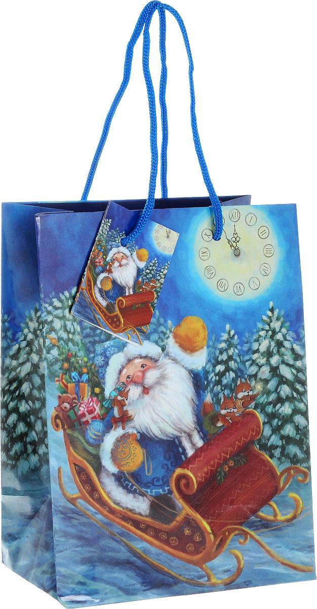 """Пакет подарочный Феникс-Презент """"Дед Мороз в санях"""", 17,8 x 9,8 х 22,9 см 38525"""