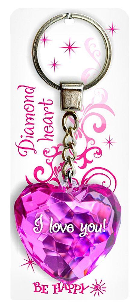 Брелок Be Happy Диамантовое сердце. I love you!17Оригинальный брелок Be Happy Диамантовое сердце, изготовленный из высококачественного пластика, станет отличным подарком. Это не только приятный, но и практичный сувенир для каждодневного использования, ведь такое хрустальное сердце - не просто брелок, а модный аксессуар. Брелоком можно украсить сумочку, детскую коляску или повесить на ключи. Переливающиеся грани и блестящая поверхность создадут гламурный образ. Длина цепочки - 4 см. Диаметр кольца - 2 см.