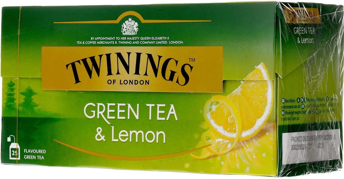 Twinings Green Tea & Lemon зелёный чай с цедрой лимона в пакетиках, 25 шт070177173159Уникальная смесь зеленого чая с добавлением лимонной цедры