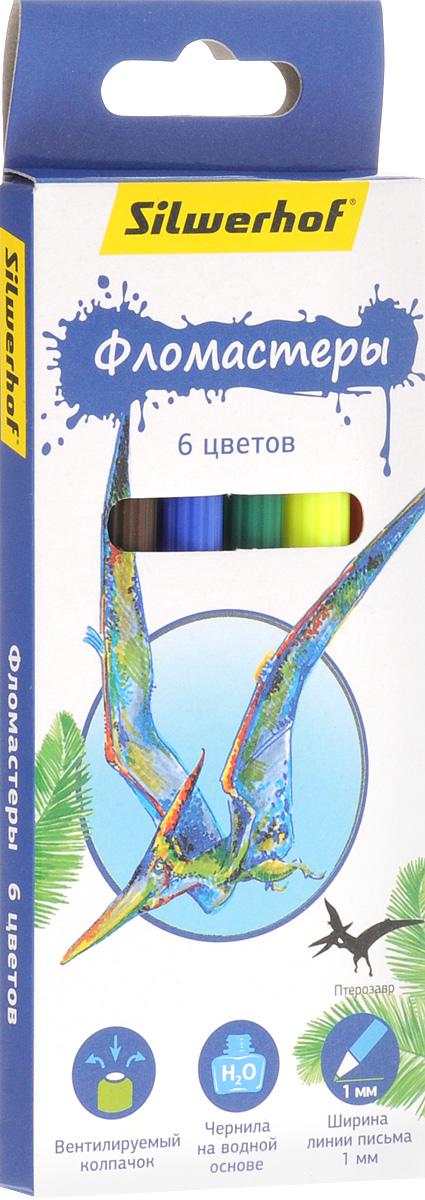 Silwerhof Фломастеры Динозавры 6 цветов610842Фломастеры Silwerhof Динозавры - это 6 ярких насыщенных цветов в разноцветных пластиковых корпусах (цвет корпуса соответствует цвету чернил). Каждый фломастер оснащен плотным вентилируемым колпачком, защищающим чернила от испарения.Чернила изготовлены на водной основе. Легко отстирываются и смываются с рук.Фломастеры Silwerhof - идеальный инструмент для самовыражения и развития маленького художника!