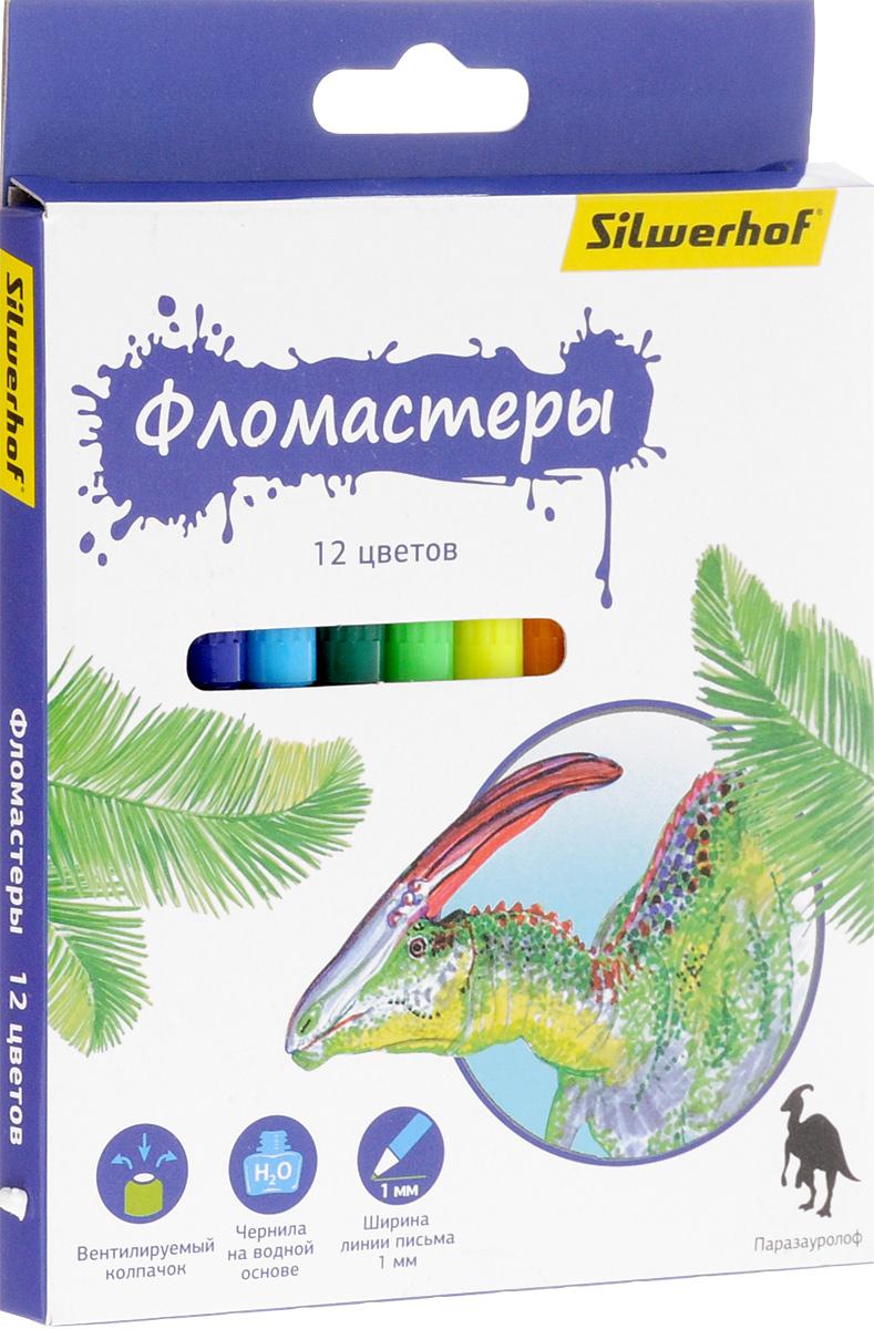 Silwerhof Фломастеры Динозавры 12 цветов 867201-12
