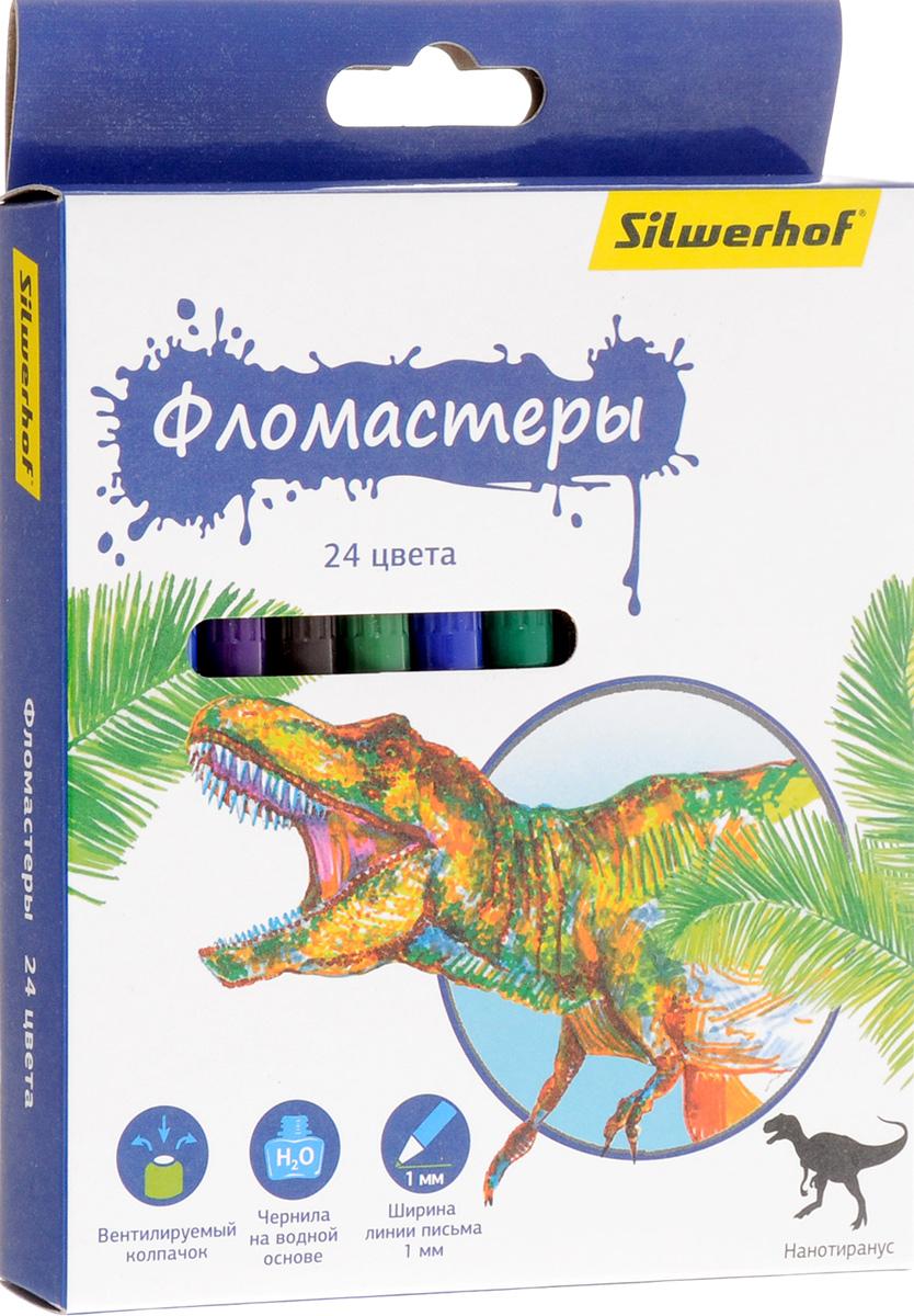 Silwerhof Фломастеры Динозавры 24 цвета72523WDНабор Silwerhof Динозавры содержит фломастеры 24 ярких насыщенных цветов. Корпус фломастеров изготовлен из полипропилена. Безопасные чернила на водной основе легко отстирываются и смываются. Маленький диаметр удобен для детских пальчиков. Фломастеры оснащены вентилируемыми колпачками. Ширина линии письма: 1 мм. Фломастеры Silwerhof откроют юным художникам новые горизонты для творчества, а также помогут отлично развить мелкую моторику рук, цветовое восприятие, фантазию и воображение, способствуют самовыражению.