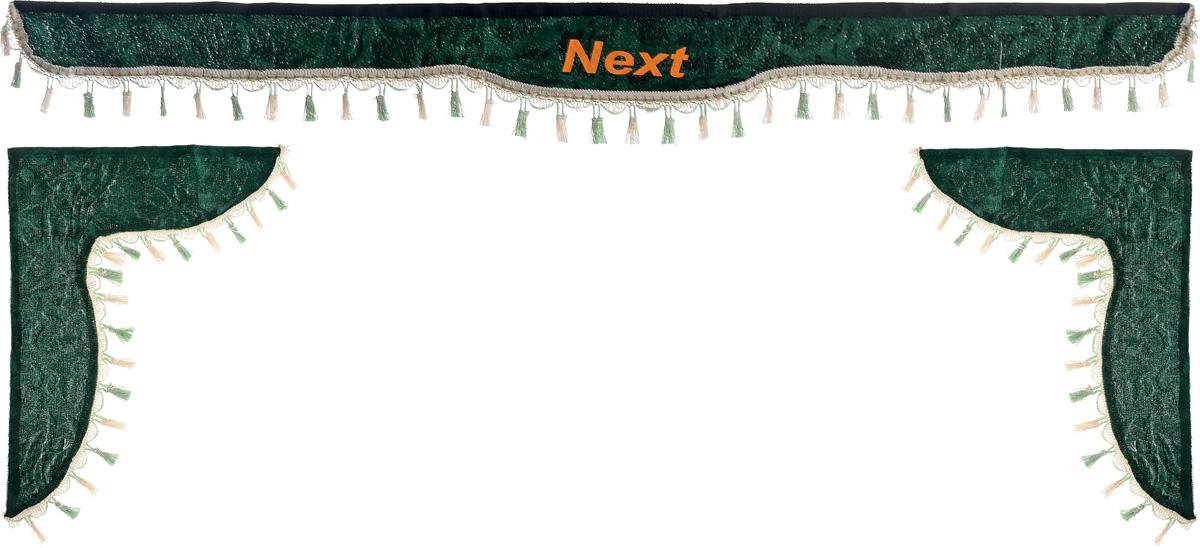 Ламбрекен для автомобильных штор Главдор, на Газель NEXT, цвет: зеленыйGL-183Ламбрекен для автомобильных штор Главдор изготовлен из бархатистого текстиля, оформлен надписью Next по центру и декорирован кисточками по всей длине. Ламбрекен фиксируется при помощи липучек в верхней области лобового стекла и по сторонам боковых стекол. Такой аксессуар защитит от солнечных лучей и добавит уюта в интерьер салона. Размер ламбрекена на лобовое стекло: 180 х 15 см. Размер ламбрекена на боковое стекло: 60 х 45 см.