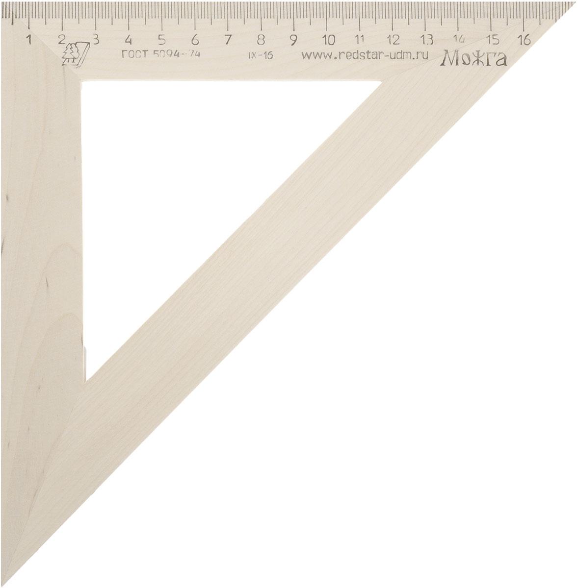 Красная звезда Угольник 45 градусов 18 смFS-36054Угольник Красная звезда с углом в 45 градусов изготовлен из твердолиственных пород древесины. Имеет износостойкую одностороннюю шкалу, длина шкалы - 180 мм.