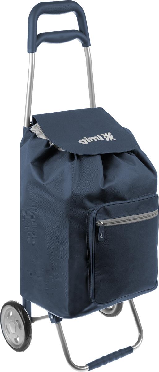 Сумка-тележка Gimi Argo, цвет: темно-синий, серый, 45 л1551550000000Хозяйственная сумка-тележка Gimi Argo выполнена из высококачественного полиэстера со стальным каркасом. Она оснащена 1 вместительным отделением, закрывающимся на шнурок. Спереди расположен карман на застежке-молнии. Сумка водоустойчива, оснащена 2 колесами, обеспечивающими удобство транспортировки. Для компактного хранения сумку можно сложить. Максимальная нагрузка: 30 кг.