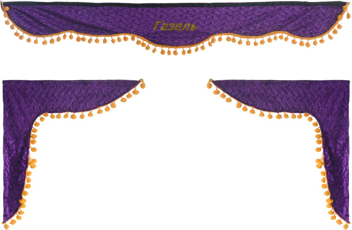 Ламбрекен для автомобильных штор Главдор, на Газель, цвет: фиолетовыйSC-FD421005Ламбрекен для автомобильных штор Главдор изготовлен из бархатистого текстиля, оформлен надписью Газель и декорирован помпонами по всей длине. Ламбрекен фиксируется при помощи липучек в верхней области лобового стекла и по сторонам боковых стекол. Такой аксессуар защитит от солнечных лучей и добавит уюта в интерьер салона. Размер ламбрекена на лобовое стекло: 130 х 20 см. Размер ламбрекена на боковое стекло: 57 х 45 см.