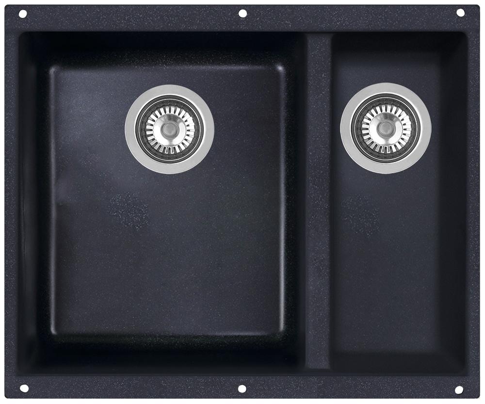 Мойка кухонная Zigmund & Shtain, подстольная, 2 чаши, цвет: темная скала. integra5002integra5002Zigmund & Shtain INTEGRA 500.2, кухонная мойка с подстольной установкой , иск.гранит, 2 чаши, глубина-19см-основн.13 см-доп. форма- прямоугольная, , Цвет Темная скала
