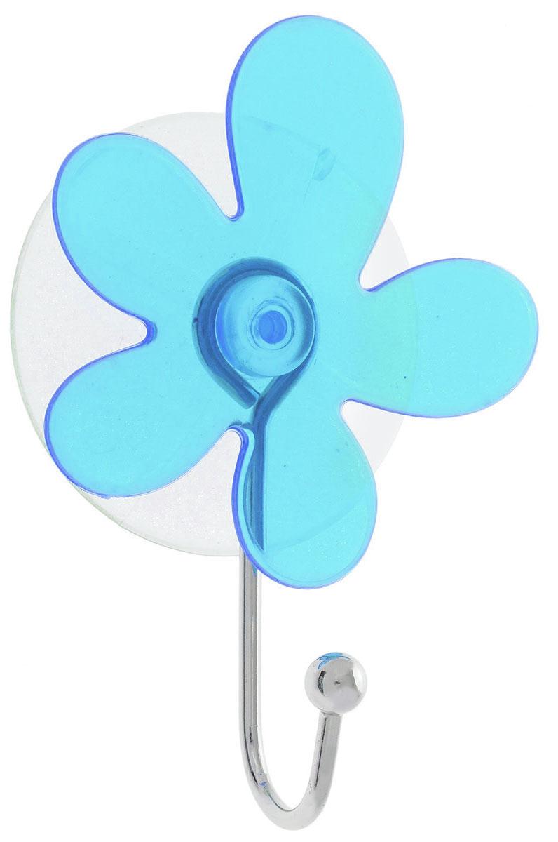 Крючок Top Star Клякса, на вакуумной присоске, цвет: синий, серебристый, 6 х 3 х 10 см175332_синий, серебристыйКрючок Top Star Клякса изготовлен из хромированной стали и украшен оригинальной пластиковой вставкой. Крючок крепится к поверхности при помощи присоски. Для надежности крепления присоску необходимо устанавливать на гладкой, воздухонепроницаемой, очищенной и обезжиренной поверхности. Такой крючок прекрасно впишется в интерьер ванной комнаты и поможет эффективно организовать пространство.