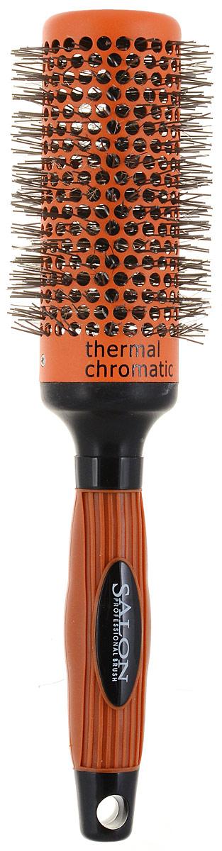 Salon Professional Расческа круглая. 340-9884FVDF213-60160Круглая расческа Salon Professional с нейлоновыми зубцами предназначена для укладки волос. Керамический цилиндр позволяет равномерно и быстро распределять тепло. Специальное покрытие Thermal Chromatic является индикатором температуры оптимального нагрева позволяет определить лучшее время для начала укладки волос. Характеристики:Материал: пластмасса, нейлон, керамика. Длина расчески: 26 см.Длина зубцов: 0,5 см. Общий диаметр расчески: 6 см. Производитель: Германия.Артикул:340-9884FVDF. Товар сертифицирован.