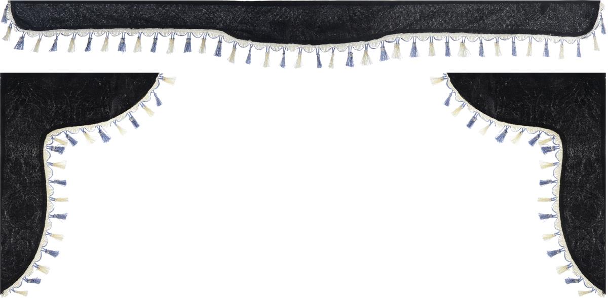 Ламбрекен для автомобильных штор Главдор, на Газель Next и микроавтобусы, цвет: черныйGL-182Ламбрекен для автомобильных штор Главдор изготовлен из бархатистого текстиля и декорирован кисточками по всей длине. Ламбрекен фиксируется при помощи липучек в верхней области лобового стекла и по сторонам боковых стекол. Такой аксессуар защитит от солнечных лучей и добавит уюта в интерьер салона. Размер ламбрекена на лобовое стекло: 180 х 15 см. Размер ламбрекена на боковое стекло: 60 х 45 см.