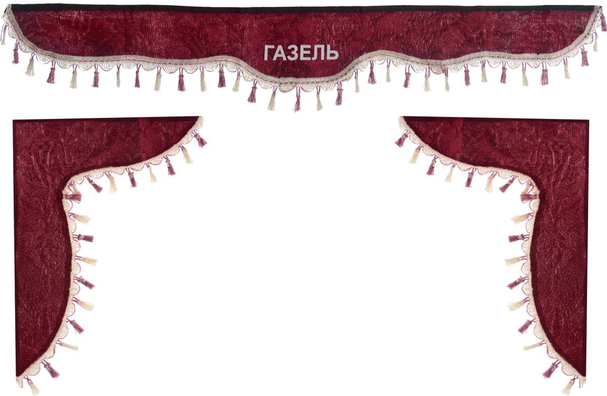 Ламбрекен для автомобильных штор Главдор, на Газель, цвет: бордовыйGL-193Ламбрекен для автомобильных штор Главдор изготовлен из бархатистого текстиля, оформлен надписью Газель и декорирован кисточками по всей длине. Ламбрекен фиксируется при помощи липучек в верхней области лобового стекла и по сторонам боковых стекол. Такой аксессуар защитит от солнечных лучей и добавит уюта в интерьер салона. Размер ламбрекена на лобовое стекло: 140 х 20 см. Размер ламбрекена на боковое стекло: 60 х 45 см.