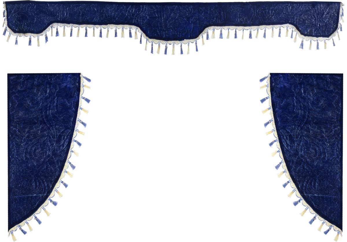 Ламбрекен для автомобильных штор Главдор, на грузовые, цвет: темно-синий. GL-172GL-172Ламбрекен для автомобильных штор Главдор изготовлен из бархатистого текстиля и декорирован кисточками по всей длине. Ламбрекен фиксируется при помощи липучек в верхней области лобового стекла и по сторонам боковых стекол. Такой аксессуар защитит от солнечных лучей и добавит уюта в интерьер салона. Размер ламбрекена на лобовое стекло: 207 х 20 см. Размер ламбрекена на боковое стекло: 67 х 36 см.