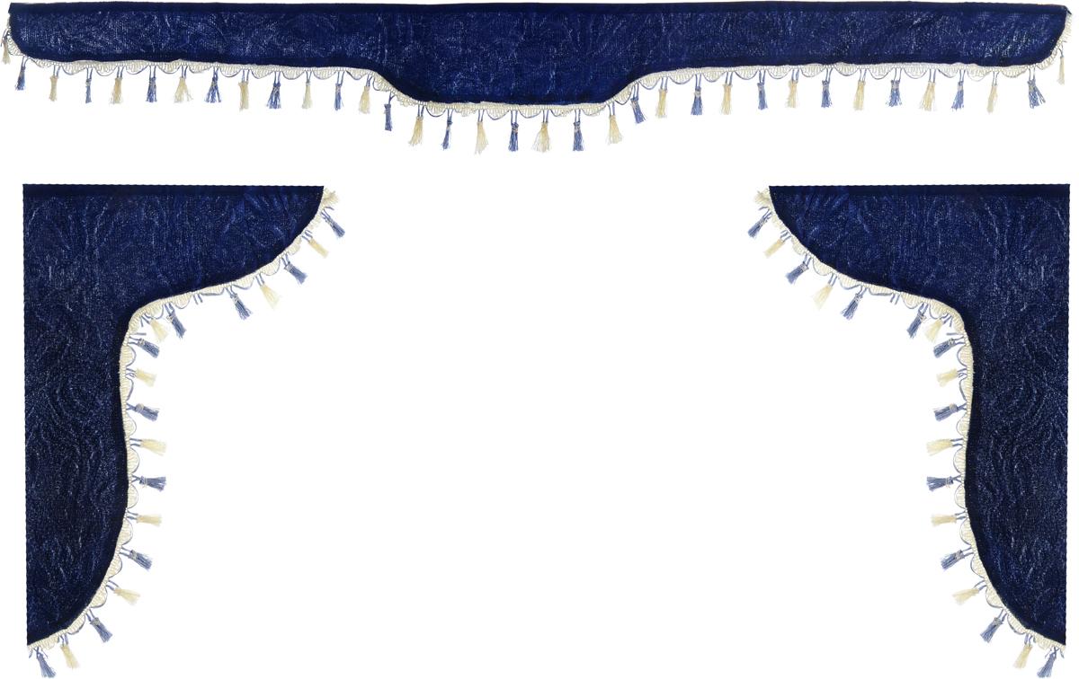 Ламбрекен для автомобильных штор Главдор, на Газель NEXT и микроавтобусы, цвет: темно-синийSC-FD421005Ламбрекен для автомобильных штор Главдор изготовлен из бархатистого текстиля и декорирован кисточками по всей длине. Ламбрекен фиксируется при помощи липучек в верхней области лобового стекла и по сторонам боковых стекол. Такой аксессуар защитит от солнечных лучей и добавит уюта в интерьер салона.Размер ламбрекена на лобовое стекло: 180 х 15 см. Размер ламбрекена на боковое стекло: 60 х 45 см.