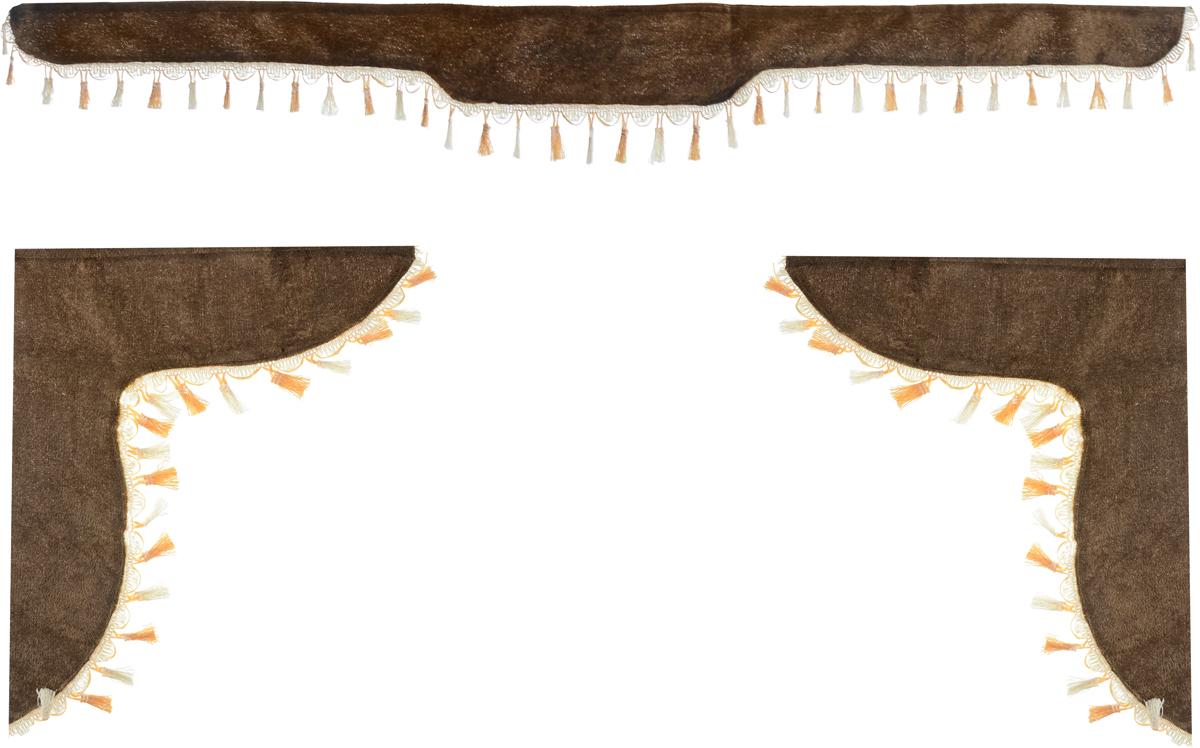 Ламбрекен для автомобильных штор Главдор, на Газель NEXT и микроавтобусы, цвет: коричневыйGL-176Ламбрекен для автомобильных штор Главдор изготовлен из бархатистого текстиля и декорирован кисточками по всей длине. Ламбрекен фиксируется при помощи липучек в верхней области лобового стекла и по сторонам боковых стекол. Такой аксессуар защитит от солнечных лучей и добавит уюта в интерьер салона. Размер ламбрекена на лобовое стекло: 180 х 15 см. Размер ламбрекена на боковое стекло: 60 х 45 см.