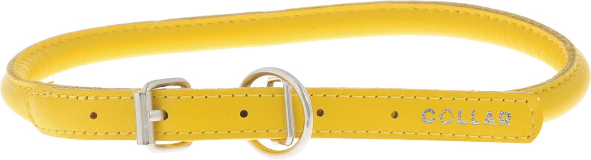 Ошейник для собак CoLLaR Glamour, цвет: желтый, диаметр 1 см, обхват шеи 39-47 см0120710Ошейник для собак CoLLaR Glamour изготовлен из натуральной кожи. Ошейник устойчив к влажности и перепадам температур. Сверхпрочные нити, крепкие металлические элементы делают ошейник надежным и долговечным.Обхват ошейника регулируется при помощи пряжки. Ошейник оснащен металлическим кольцом для крепления поводка. Изделие отличается высоким качеством, удобством и универсальностью. Минимальный обхват шеи: 39 см. Максимальный обхват шеи: 47 см. Диаметр ошейника: 1 см. Длина ошейника: 51 см.